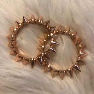 Rose gold spiked bracelets, set of 2
